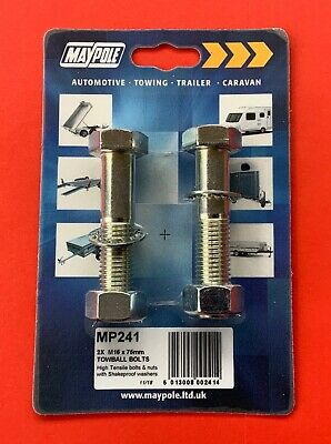 """/& 110mm Long Bolts Nyloc Nuts /& Washers Tow Bar Towball Spacer  2.0/"""" 50MM"""