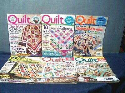 LOT of 6 QUILT MAGAZINES APR/MAY AUG/SEPT OCT/NOV DEC/JAN FEB/MAR 2012 & 2013 EC