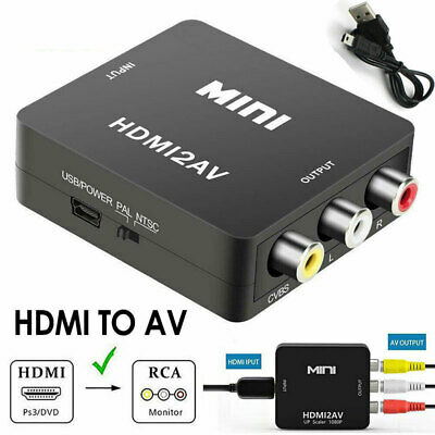Composite HDMI to AV CVBS 3RCA Video Audio Converter Adapter 720/1080p USB Cable