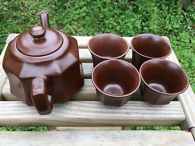 Tea Pot Ceremic Brown. With 4 Cups