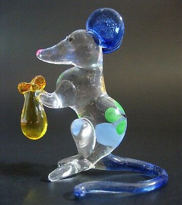 Glass Painted MOUSE RAT Curio Display Delicate Glass Ornament Glass Animal Gift