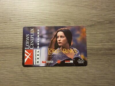 LORD OF THE RINGS LOEWS CINEPLEX NO VALUE Collectible Gift Card