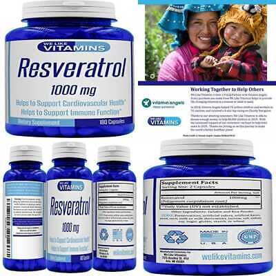 Resveratrol Capsules 1000Mg Serving 180 3 Month Value Supply Antioxidant Trans S