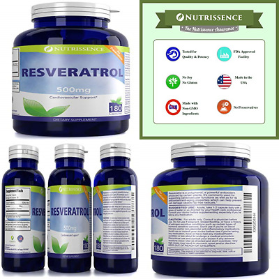 Resveratrol 500Mg 180 Capsules FREE SHIPPING Health Personal Care