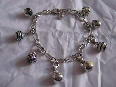 Modern Solid Silver Ladies Charm Bracelet Chain Bracelet with 8 Mixed Charms 925