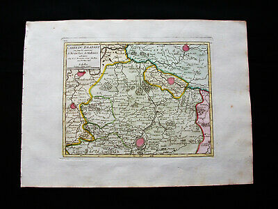 1749 VAUGONDY -orig. map: NETHERLANDS, HOLLAND BELGIUM BRABANT BRUSSELS MECHELEN