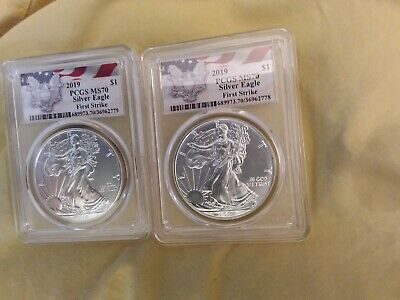 Lot of 2 2019 1oz Silver Eagle PCGS MS70 First Strike Eagle Flag CONSECUTIVE