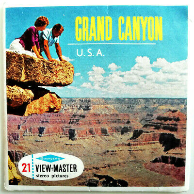 """3x VIEW MASTER SCHEIBE """" GRAND CANYON """" + BOOKLET © Sawyer´s Inc. U.S.A. A361"""