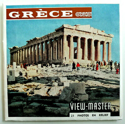 """3x VIEW MASTER SCHEIBE """" GRÈCE / GRIECHENLAND """" + BOOKLET Reels C020 F French"""