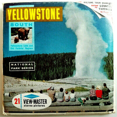 """3x VIEW MASTER SCHEIBE """" YELLOWSTONE South """" + BOOKLET © Reels USA / KANADA A306"""