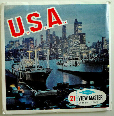 """3x VIEW MASTER SCHEIBE """" U.S.A. / AMERICA """" +BOOKLET  Reels A997-N NATIONS WORLD"""
