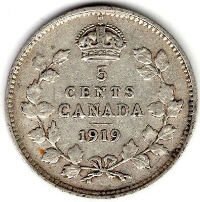 1919 Canada Five 5 Cent George V Fishscale Sterling Silver Nickel Coin