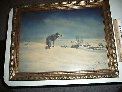 Vtg Antique 1925 Lone Wolf Print Framed Glass Borin Chicago Picture Western Art