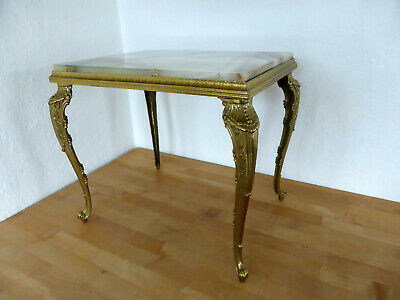 prunkvoller Empire Beistelltisch Hocker Messing Onyx Marmor Chippendale gold TOP