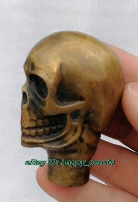 lucky Old Bronze Hand Carved skull Cane Walking Stick Head Statue