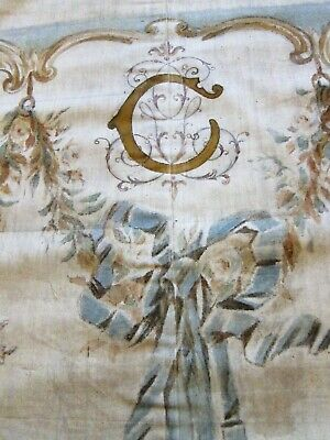 c.1880 Antique French Handpainted Photographers Backdrop