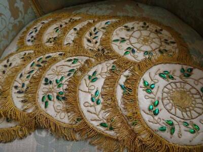 A Wonderful Set 12 Antique Victorian Gold Thread On Tulle Scarab Wings
