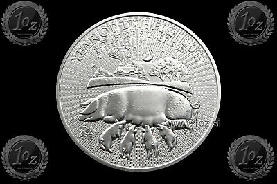 UK (GREAT BRITAIN) 2 POUNDS 2019 (LUNAR Year of PIG) 1oz SILVER coin (Ag 999) BU