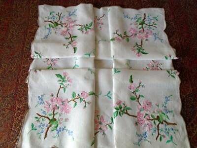 Beautiful Vintage Hand Embroidered Linen Tablecloth ~ Superb Pink Cherry Blossom