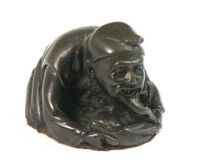Small Japanese Bronze Resin Figure Of Old Man With Baby