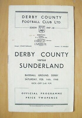 DERBY COUNTY v SUNDERLAND 1947/1948 *VG Condition Football Programme*