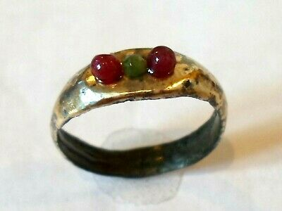 Detector Find & Polished,200-400 A.d Roman Bronze Ring W/real Rubies & Emerald.
