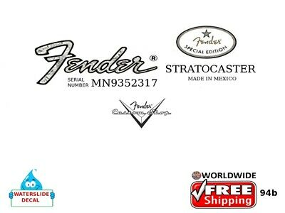 Fender Stratocaster Guitar Mexico Headstock Decal Restoration Waterslide 94b
