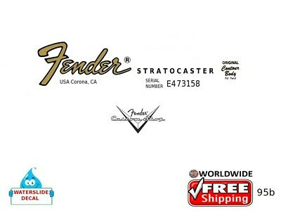 Fender Stratocaster Guitar Headstock Decal Restoration Waterslide Inlay 95b