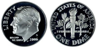 Silver 2006 S Gem Bu Proof Roosevelt Dime Brilliant Uncirculated Us Coin#1132