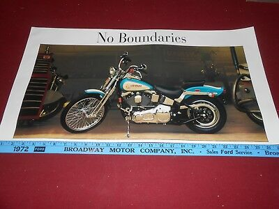 "HARLEY-DAVIDSON ""NO BOUNDARIES"" ORIGINAL 15"" by 28"" MOTORCYCLE POSTER / BROCHURE"