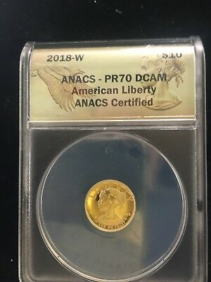 2018 $10.00 American Liberty High Relief 1/10 Oz Gold.graded Pr70 By Anacs!!!!!!