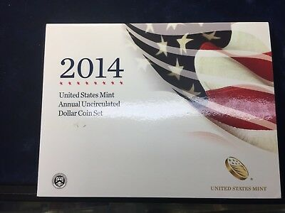 2014 Us Mint Annual Uncirculated Dollars Coins Set With Silver Eagle,6 Coins Set