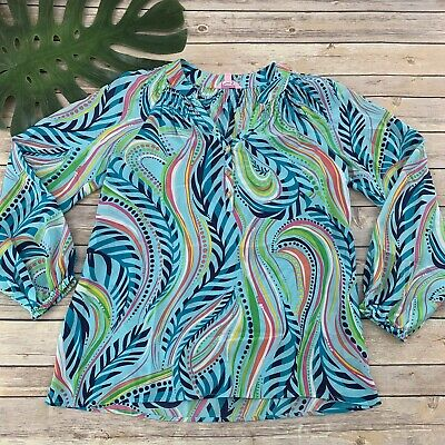 687599eef3cdce Lilly Pulitzer Elsa Silk Top Sz XS Blue Pink Sea Me Print Popover Blouse  Floral