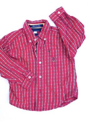 Vtg Children's 1990s Tommy Hilfiger Red American Check Plaid Shirt Top 1-2Y