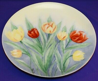 Vintage Rosenthal Hand Painted Plate With Red / Yellow Tulips Bavaria Signed