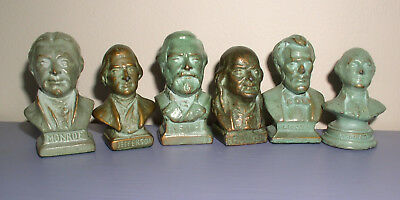 VTG 6 SRG Bronze Clad Historical Busts Miniature Sell Rite Giftware  Collectibles