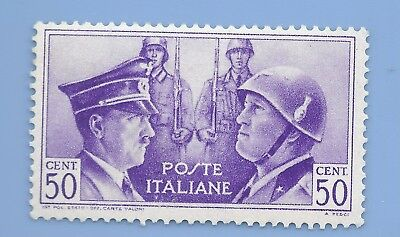 Italy Nazi Germany Axis 1941 Hitler Mussolini  50 cent stamp WW2 ERA