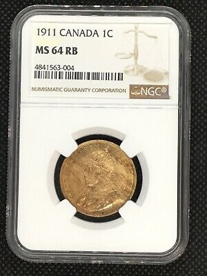 1911 Canada 1 Cent NGC MS64 RB