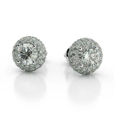 Engagement 1.50 Ct D Si2 Round Cut Diamond Halo Stud Earrings 14 K White Gold