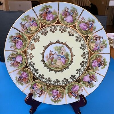 Vintage Love Story Large Plate Charger Nc Germany Gold Hand Painted