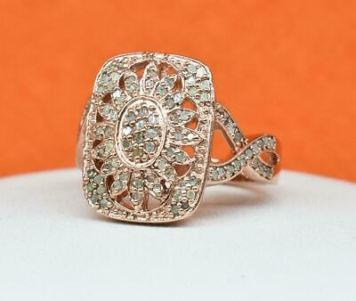 Natural 1.54ctw H-SI Diamond 14k Rose Gold/Sterling Silver Cocktail Ring 5.9g