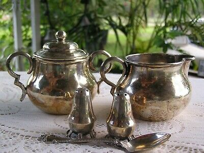 William Spratling Cream And Sugar Set Taxco Salt & Pepper Gorham Sterling Spoon