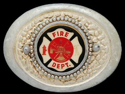 KJ15166 GREAT VINTAGE 1970s **FIRE DEPARTMENT MALTESE CROSS EMBLEM** BELT BUCKLE