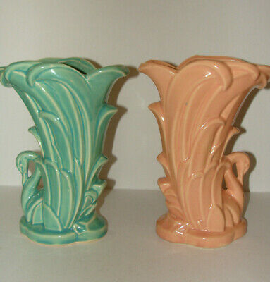 """Pair Nelson McCoy Pottery Art Deco Swan Vase Pink and Green 9.25"""""""