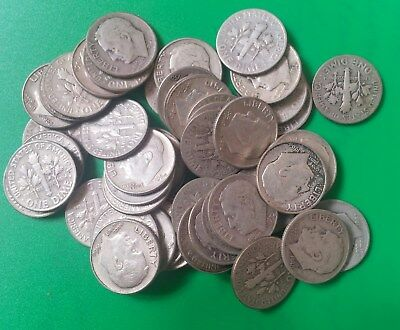 US Roosevelt 90% silver dimes 3 rolls 150 coins $15 face value mixed dates grade