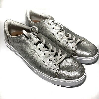 126fa916812 Toms Womens Size 10 Lenox Silver Metallic Sneakers Lace Up Crackle Leather