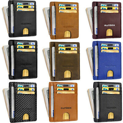 Men Women PU Leather Slim Thin Business Credit Card Holder Mini Wallet ID Case