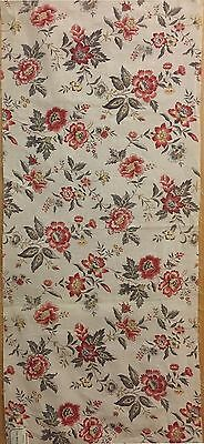 Early 20th Century French Linen Floral Printed Fabric (2105 )