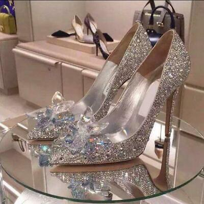 Women Silver Cinderella Wedding Party Diamond Pumps Crystal High Heel Shoes SIZE