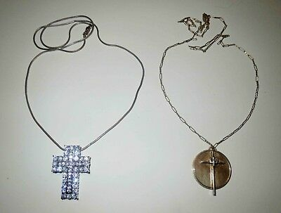 STERLING SILVER JEWELRY LOT - Christian Cross Necklace & I BELIEVE IN RAINBOWS